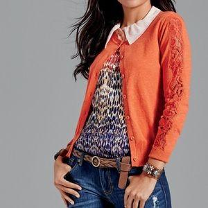 Cabi orange lace sleeve button cardigan